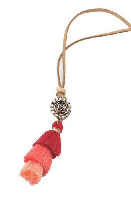 Women's Bohemian Necklace Gradient Colorful Tassels Pendant Ethnic Fashion Necklace for Women