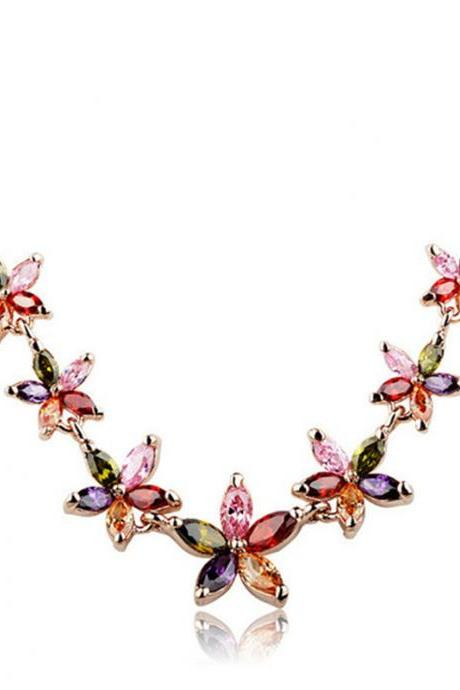 Luxury Rose Gold Necklace Colorful Zircon Flower Delicate Necklace Fashion Jewelry for Women