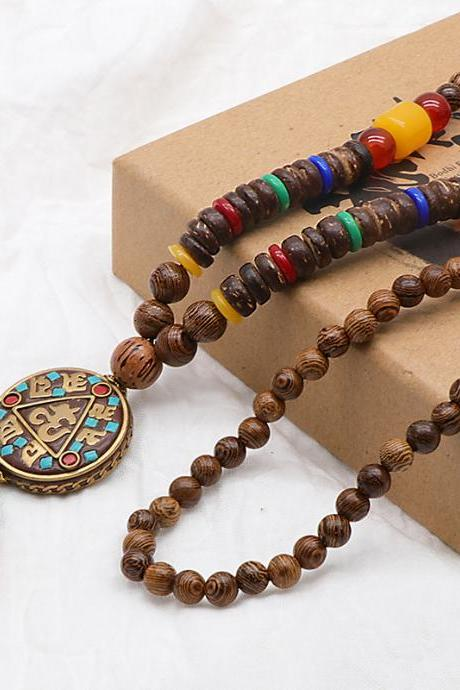Vintage Wood Beaded Pendant Necklace Ethnic Prayer Beads Long Charm Unisex Necklaces